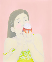 Illustration of woman eating cupcake