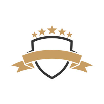 shield logo template with ribbon and stars ready for use, shielding icon, security and protector symbol