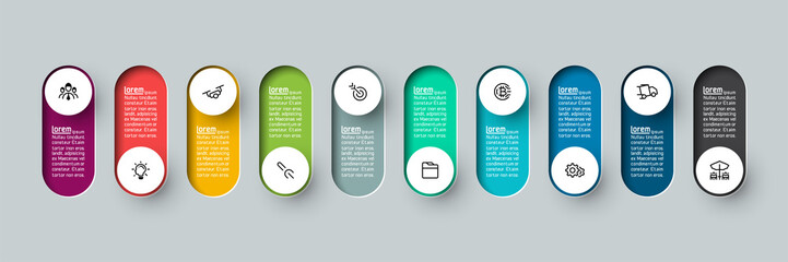 Vector Infographic 3d long circle label, infographic with number 10 options processes. Fototapete