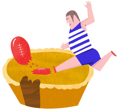 Football player kicking a ball on a meat pie