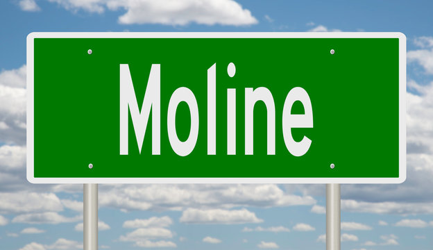 Rendering of a green highway sign for Moline Illinois
