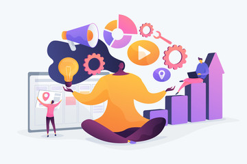 Office work stress relief exercise. Woman sitting in lotus yoga pose. Self-management, self regulation learning, self-organization course concept. Vector isolated concept creative illustration