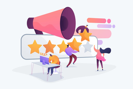 Customer experience and website feedback. Five stars client review. PR and promotion campaign. Rating scale, high-ranking, top-ranking concept. Vector isolated concept creative illustration