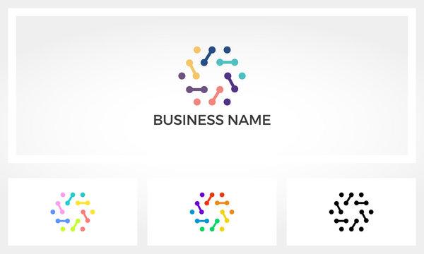 Hexagon Dots And Node Lines Logo