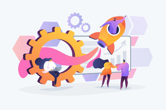 Business development and startup. Worker in space rocket. Success and work improving. Productivity, efficiency of production, qualification concept. Vector isolated concept creative illustration