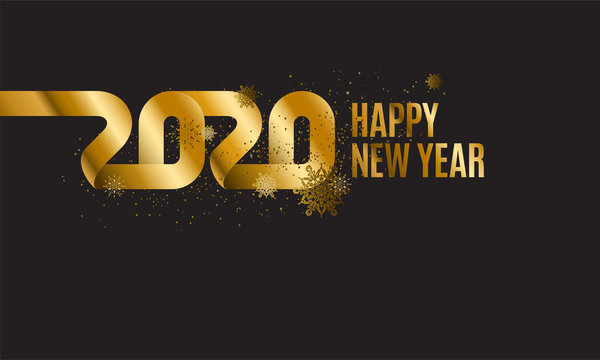Happy New Year 2020. The inscription is made of curved gold ribbons. Golden numbers with ribbons and confetti on a dark background. Congratulation on winter holidays. Vector.