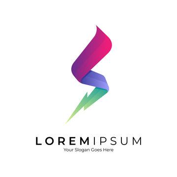 S logo with thunder shape. Modern initial letter s design. Business identity vector illustration