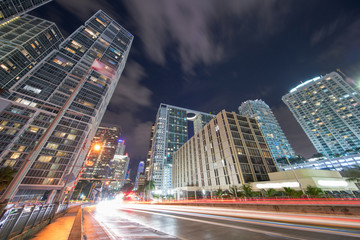 Fototapete - View from Brickell Avenue Downtown city scene. Long exposure trailing lights shot with ultrawide lens