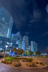 Fotomurales - Night at Downtown Brickell Miami park scene and highrise architecture