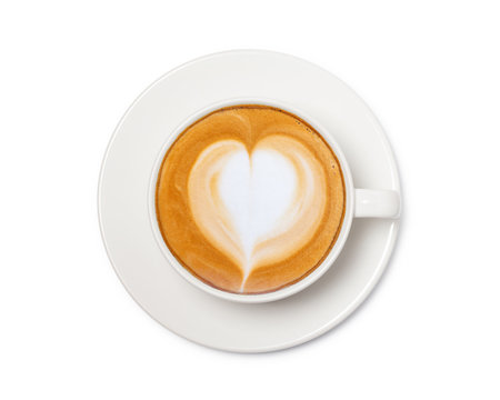 coffee cup with heart sign, top view isolated on white background, with clipping path.