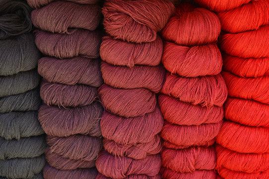 Alpaca wool yarn balls for sale in a local art and craft market in Cusco, Peru.