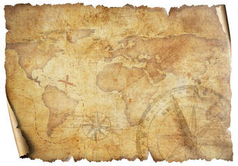 Wall Mural - Vintage old travel world map isolated on white. Based on image furnished from NASA.