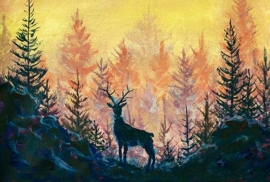 Deer and forest art painting illustration animal landscape artwork