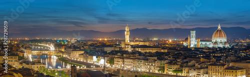 Fototapete Panorama of Skyline of Historical city Florence, Tuscany, Italy at dusk