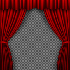 Red Stage Curtain. Theatre curtains on transparent background. Vector illustration