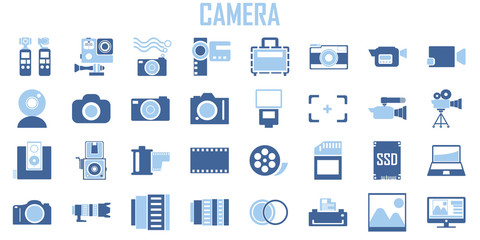 Camera, Photography, Action camera logo. Camera for active sports. Ultra HD. 4K  elements - minimal flat web icon set. flat icons collection. Simple mono symbol vector illustration. Blue tone color.