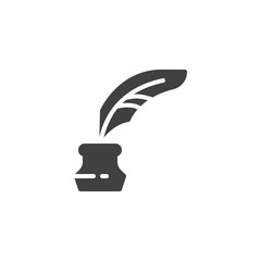 Quill And Ink Bottle vector icon. filled flat sign for mobile concept and web design. Feather Ink glyph icon. Symbol, logo illustration. Vector graphics