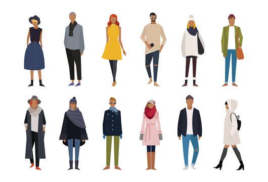 Autumn winter fashion character set. flat design style minimal vector illustration.