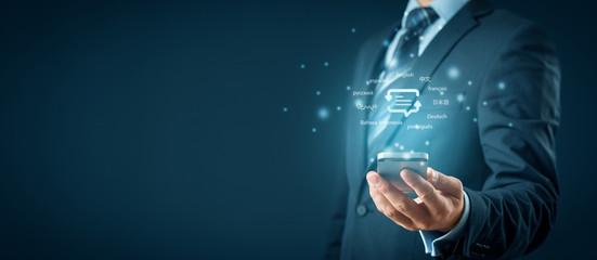 Smart phone translator and language e-learning concepts