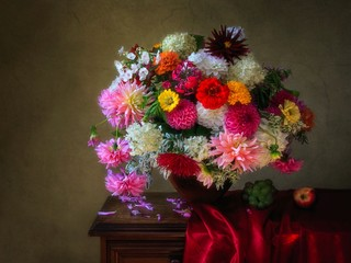 Still life with beautiful bouquet of flowers