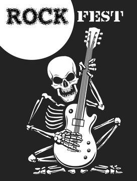 Skeleton Plays Guitar Rock Festival Poster. Vector illustration
