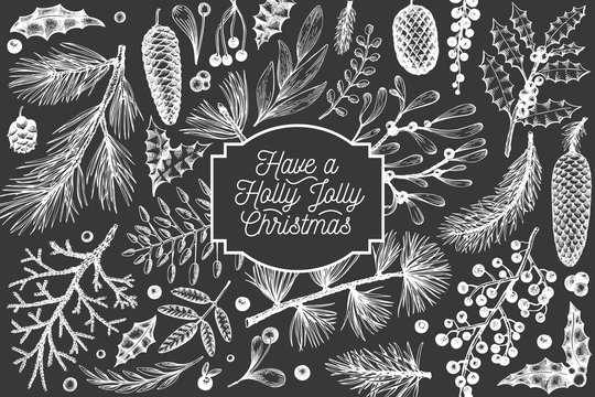 Christmas banner template. Vector hand drawn illustrations on chalk board. Greeting card design in retro style. Winter background