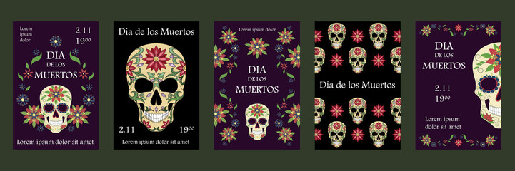 Set of vector illustrations for the day of the dead. Skulls decorated with a pattern. Mexican skulls. Design elements for cards, flyers, banners, invitations.