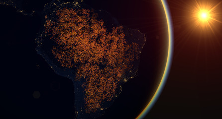 Fires in the Amazon rainforest, visible night fires over South America
