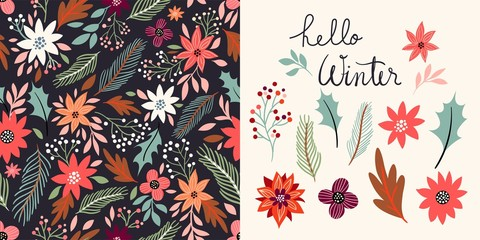 Winter set with seamless pattern and floral elements collection, vector design