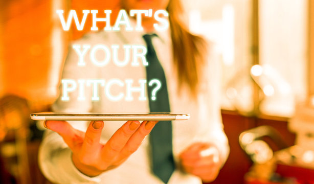 Word writing text What S Is Your Pitch question. Business photo showcasing asking about property of sound or music tone Blurred woman in the background pointing with finger in empty space