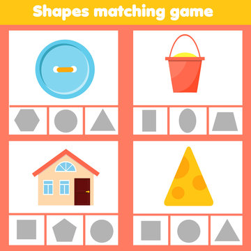Matching children educational game. Match objects and shapes. Activity for kids and toddlers.