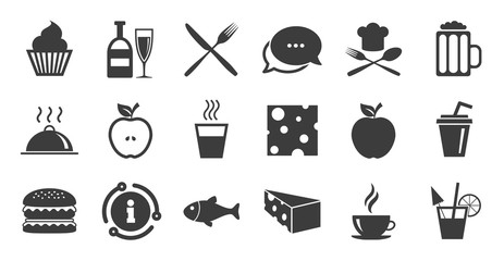Set of Food and Drinks icons. Information, chat bubble icon. Restaurant meal, Wine and Cheese signs. Burger, Coffee and Beer symbols. Quality set. Vector