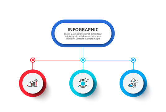 Flow chart with main abstract element and 3 circles. Modern infographic design template. Creative concept of three stages of business project.
