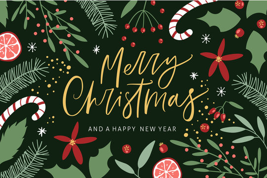 Merry Christmas greeting card with handwritten calligraphy and hand drawn decorative elements. Trendy vintage style.
