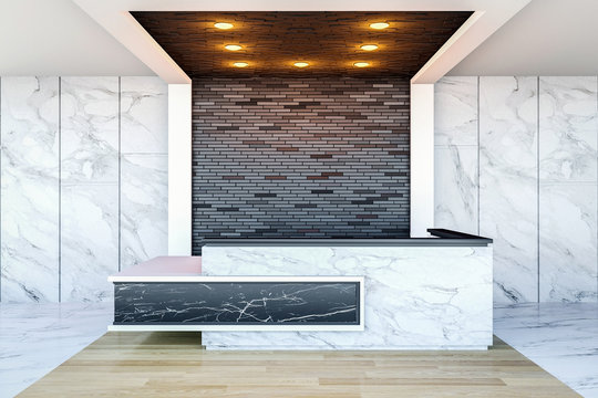Interior of modern hotel lobby area and reception desk, 3D Rendering