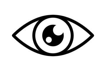 Optical eye black icon. Light vision eyeball image, vector open eyes looking symbol, eyesight or optic medicine illustration, outline look graphic
