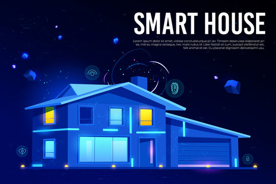 Smart house web banner. Home building with artificial intelligence technology, modern design and Internet of things services on neon glowing background. Cartoon vector illustration, landing page.