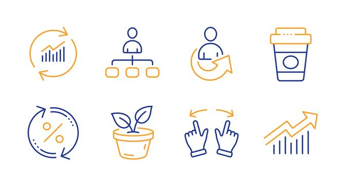 Share, Update data and Move gesture line icons set. Takeaway coffee, Leaves and Management signs. Loan percent, Demand curve symbols. Referral person, Sales statistics. Business set. Vector