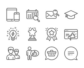 Set of Business icons, such as Seo marketing, Text message, Search mail, Winner, Shopping cart, Couple, Inspiration, Graduation cap, Mobile devices, Search calendar, Ranking star, Like. Vector