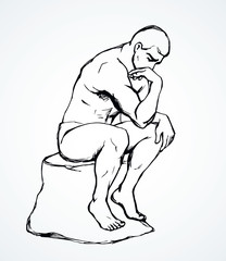 The statue the Thinker. Vector drawing
