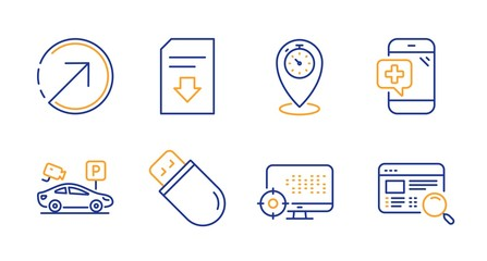 Usb stick, Medical phone and Parking security line icons set. Download file, Timer and Seo signs. Direction, Website search symbols. Memory flash, Mobile medicine. Technology set. Vector