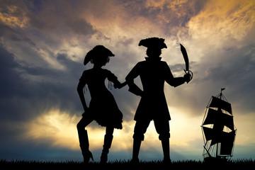 illustration of pirates at sunset