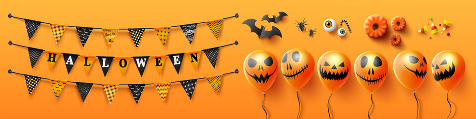 Halloween Holiday Objects and Elements on orange background.Happy Halloween with Halloween buntings and Scary air balloons for banner or poster.Vector illustration EP Fototapete