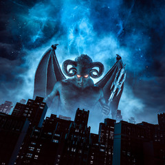 Night of the demon / 3D illustration of horned devil with wings and trident rising above city under night sky