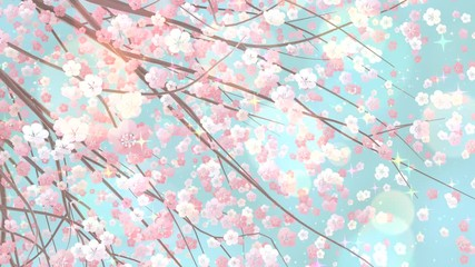 Wall Mural - Beautiful sakura with glowing lights and shiny sparkles effects animation.