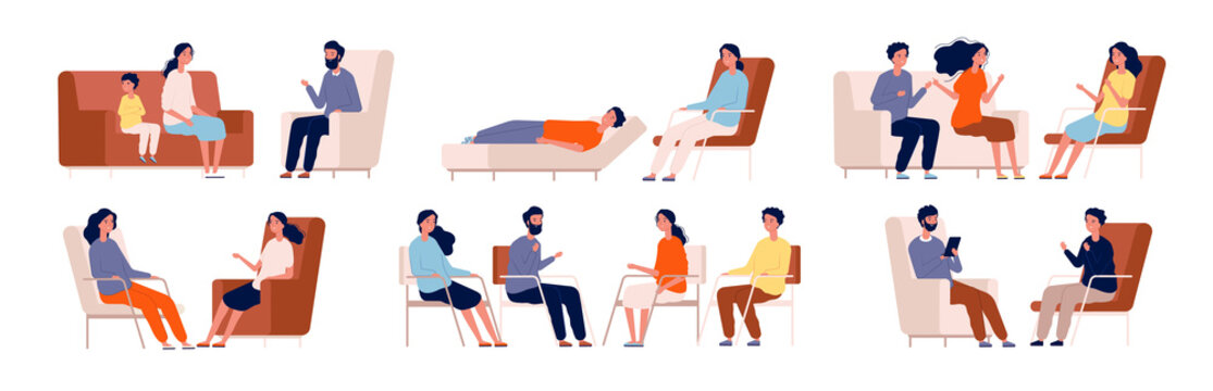 Psychologist. Group therapy couch talking medical consultant sitting family consulting vector characters. Professional psychotherapy talking, psychology counseling illustration