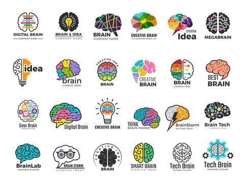 Brain logo. Genius and technology smart mind business concept identity vector colored symbols. Illustration brain logo, idea mind, bright brainstorm