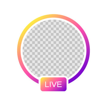 Social media Instagram icon avatar stories user LIVE video streaming colorful gradient. Vector illustration. EPS 10