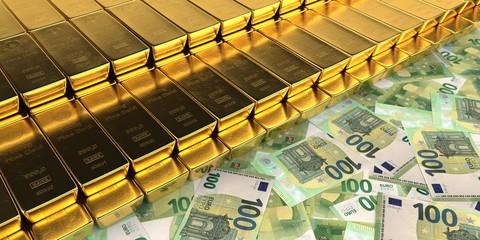 Fototapete - 100 Euro Geldscheine mit 1kg Goldbarren