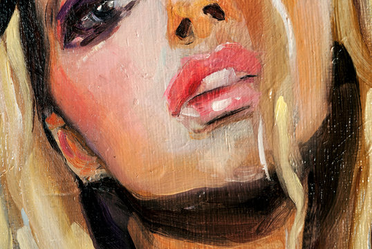 Modern art, beautiful caucasian woman with blue eyes and blonde hair, oil painting